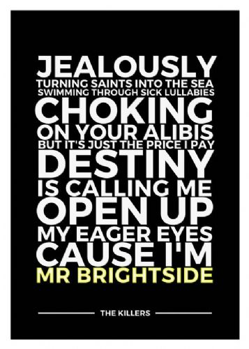THE KILLERS - MR BRIGHTSIDE yellow - canvas print - self adhesive poster - photo print